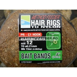Carlige Preston Method Feeder Hair Rigs Bait Bands 10cm