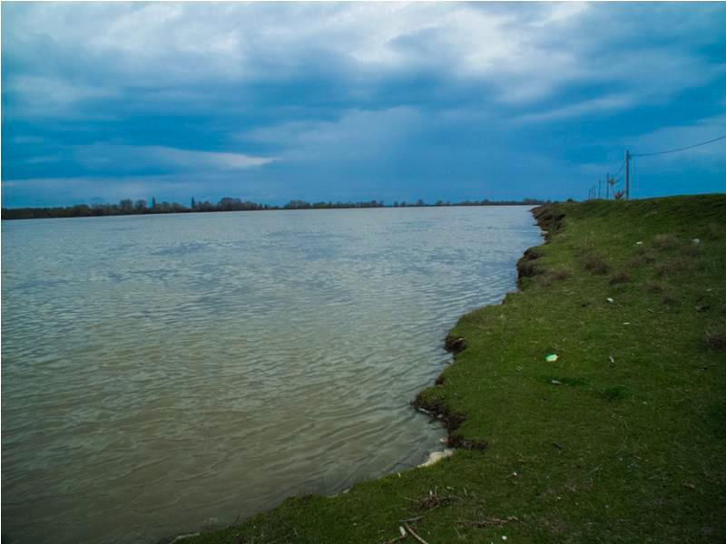 Dunarea – la limita de inundare a malurilor – in momentul de fata apa este la peste 100 m fata de linia din imagine